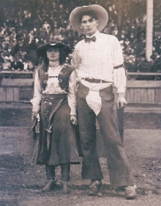 Yakima Canutt and Kitty Diamon in a rodeo show