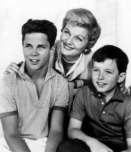 "Tony Dow (Wally Cleaver), Barbara Billingsley (June Cleaver), and Jerry Mathers (Theodore ""Beaver"" Cleaver) from the television program Leave It to Beaver."