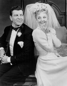 """Robert Preston and Mary Martin from the Broadway play """"I Do! I Do!""""."""
