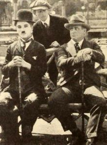 Still from the American silent film The Idle Class (1921) with Charlie Chaplin and Mack Swain